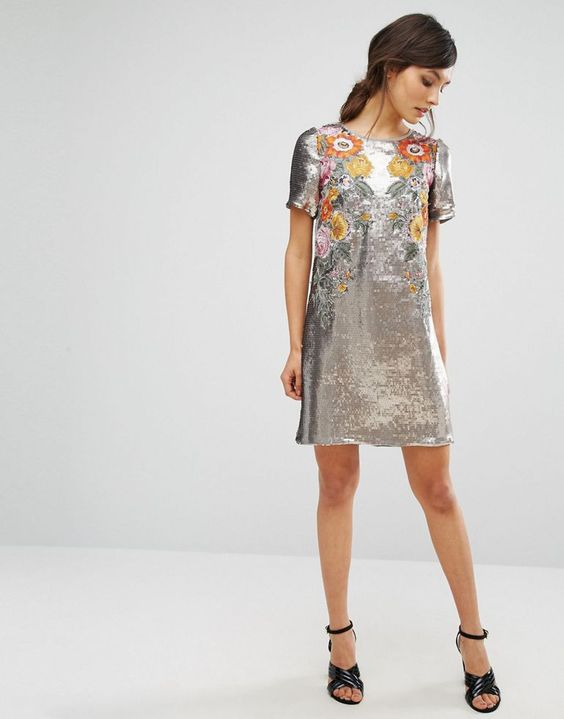 Floral Sequin Shift Dress