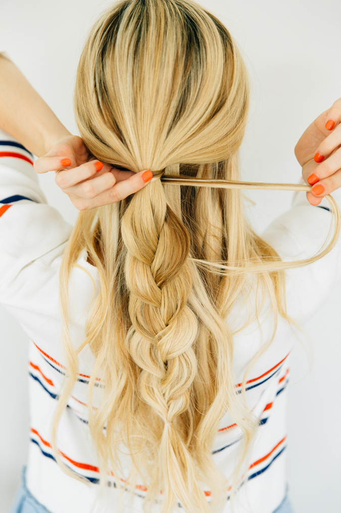 Half-up messy braid via Amber Fillerup