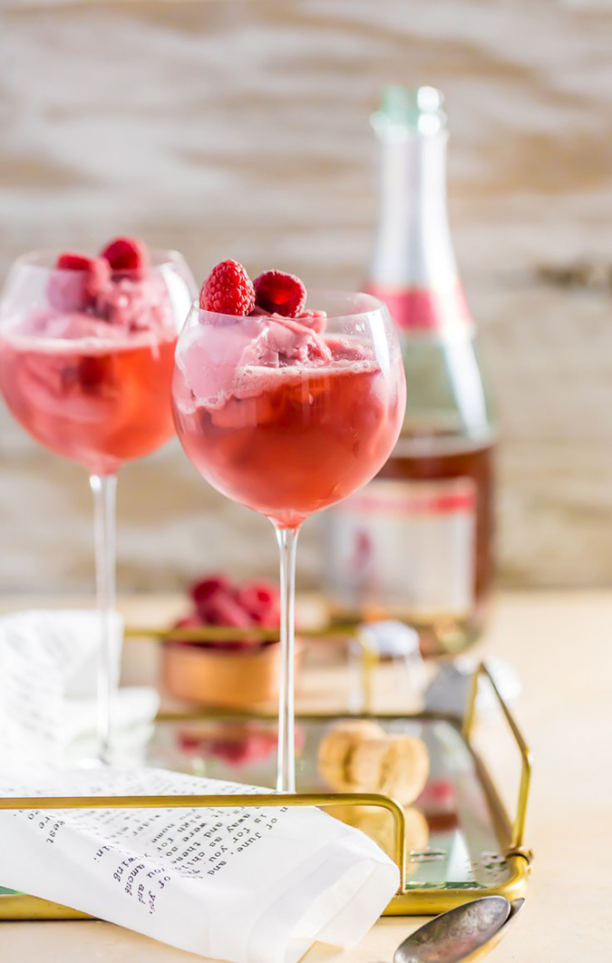 Raspberry Sorbet Pink Champagne Floats