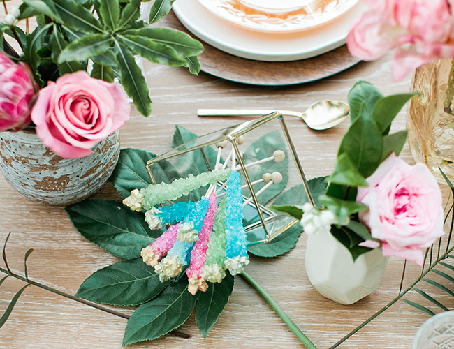 Boho birthday party, rock candy