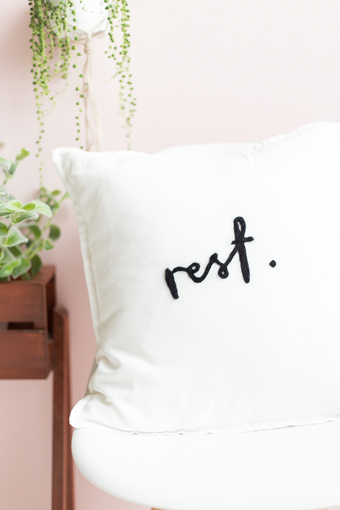 "Needle felted ""Rest"" pillow via Fall For DIY"
