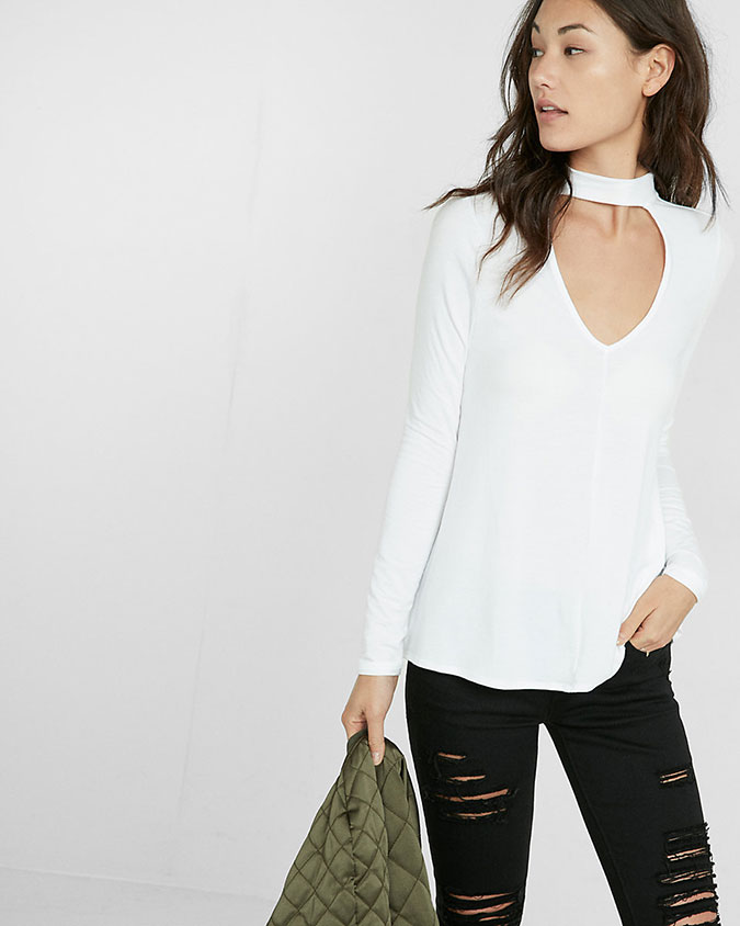 Express Cut-Out Choker Long Sleeve Tee