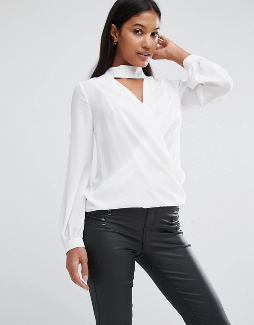 Lipsy wrap front blouse