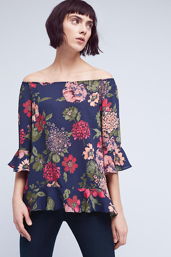 Floral Off-Shoulder Tunic Top by Paper Crown