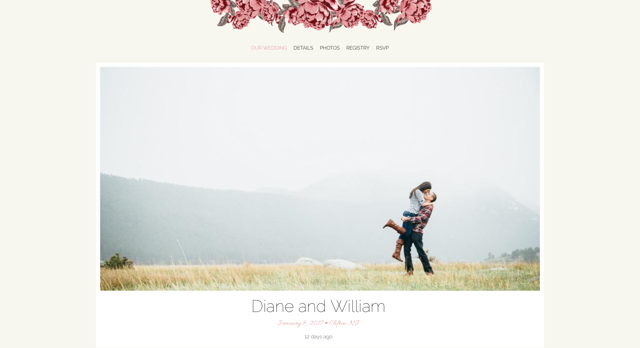 Wedding website design via The Knot