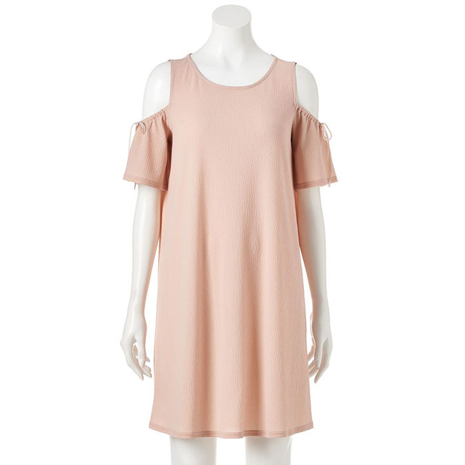 LC Lauren Conrad Cold-Shoulder Textured Shift Dress