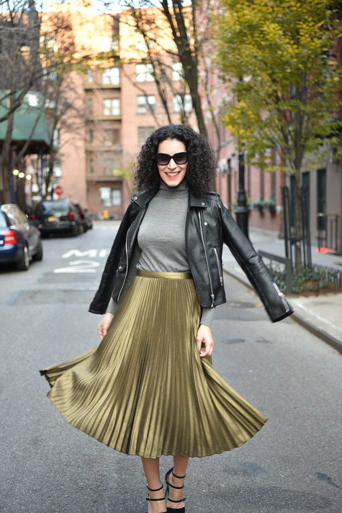Shine in metallic skirts