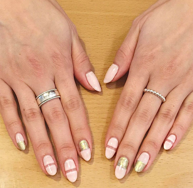 Pretty almond nail shape