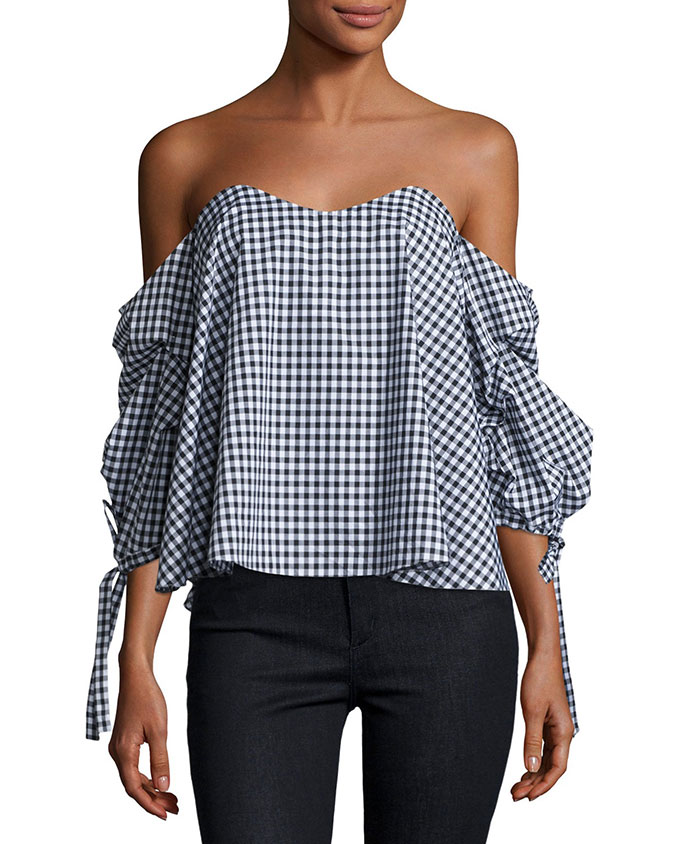 Splurge: Caroline Constas Off-the-Shoulder Gingham Bustier Top