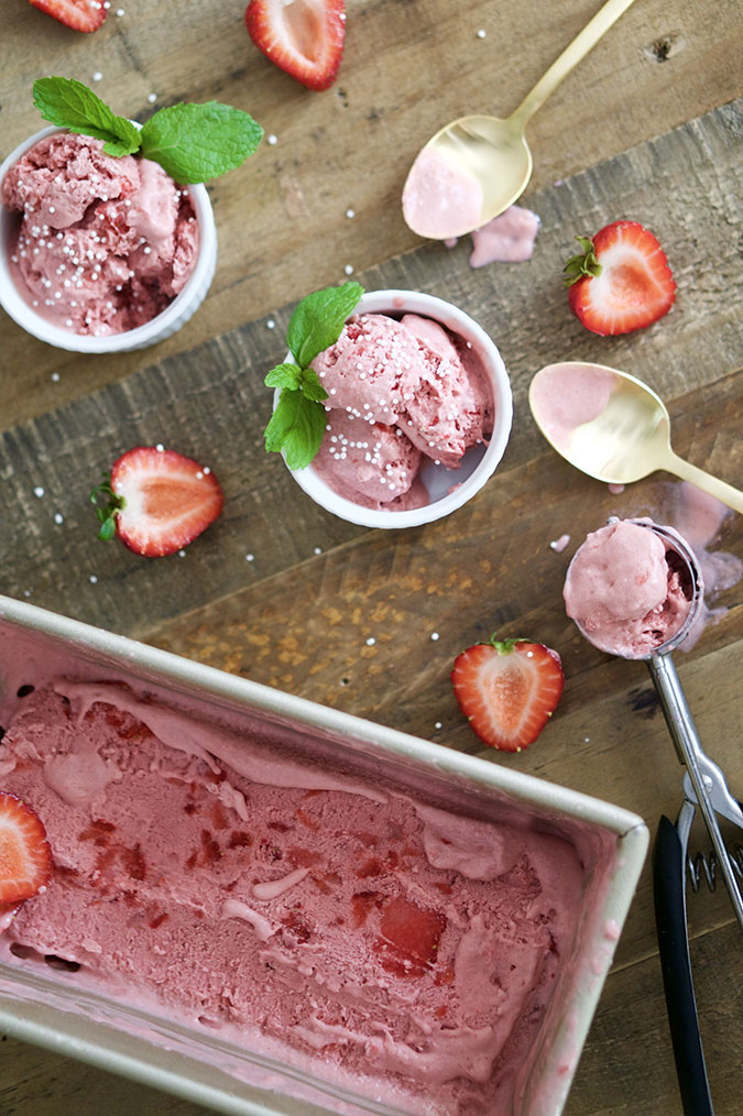 Favorite Sweet Treat (this 5-ingredient homemade strawberry ice cream is pretty AND paleo…get the recipe via WeekNight Bite here)