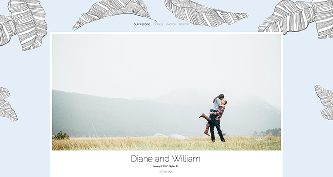 Wedding website design on The Knot