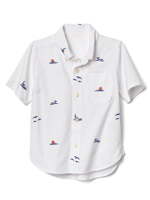 Baby Gap Ocean Embroidery Short Sleeve Shirt