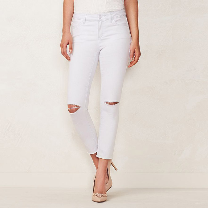 LC Lauren Conrad Rippe Skinny Ankle Jeans