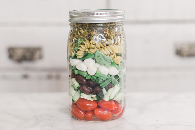 Pesto Pasta Salad in a jar