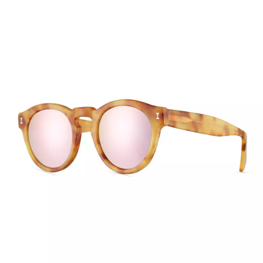 Illesteva Leonard Mirrored Round Sunglasses in Blonde Havana/Rose