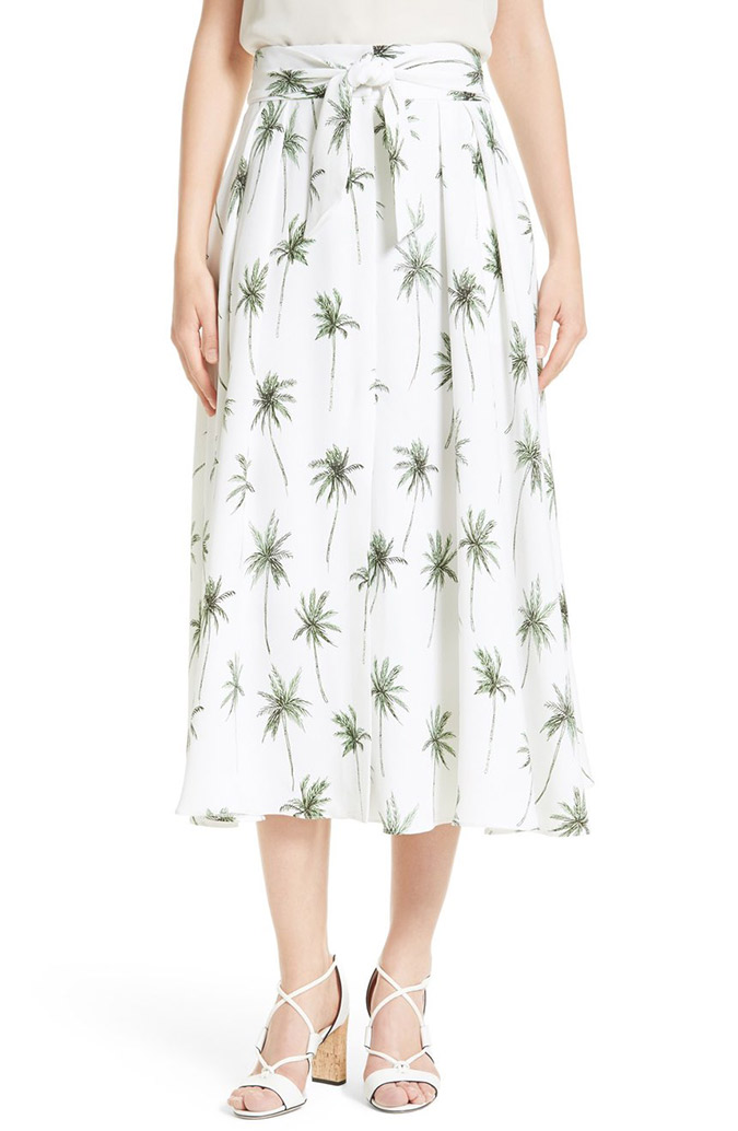 Milly Palm Tree Print Midi Skirt