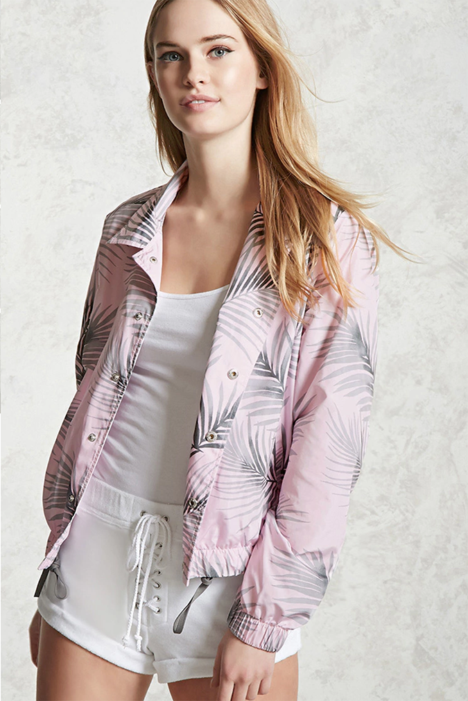 Forever 21 Palm Leaf Coach Jacket