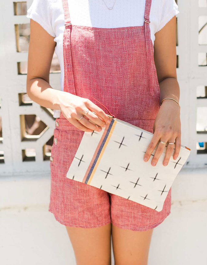 The Little Market Large Pouch in Ikat White