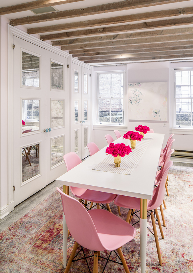 Feminine office space NYC, Crowns by Christy