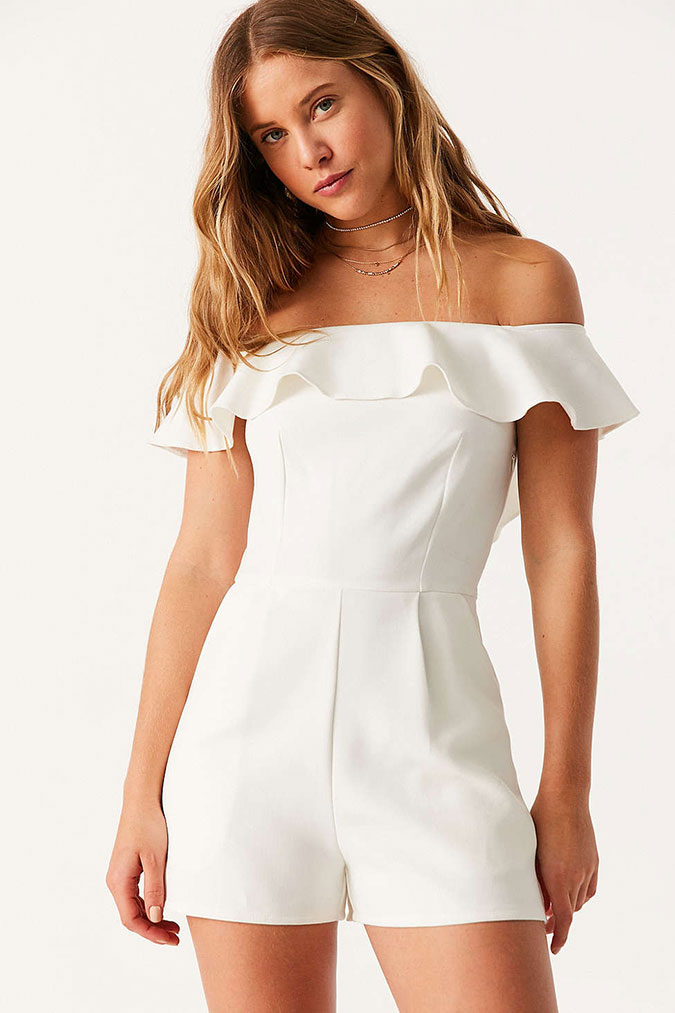 Urban Outfitters off the shoulder white romper