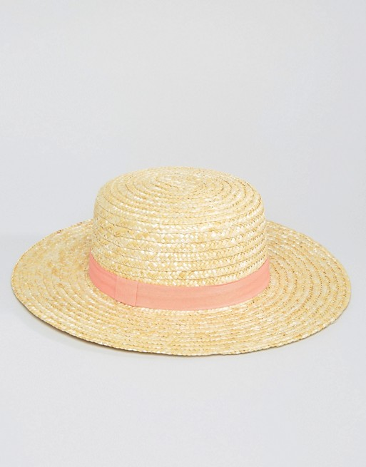 ASOS South Beach Straw Boater Hat with Peach Band