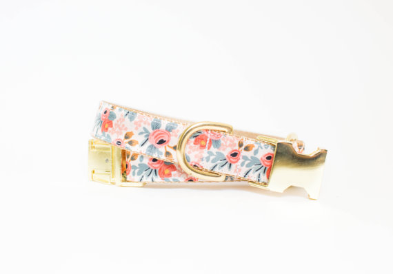 Pecan Puppies floral dog collar