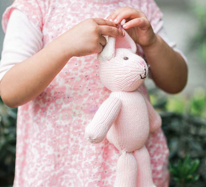 The Little Market Handmade Blush Bunny Stuffed Animal