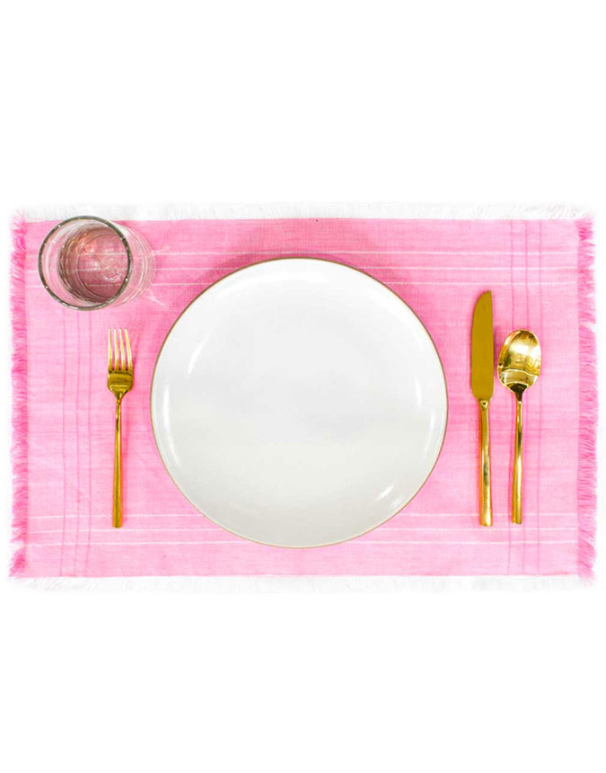 The Little Market Fringe Placemat in Blush