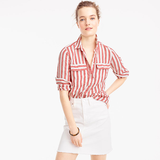 J. Crew Striped Button Up Shirt in Linen