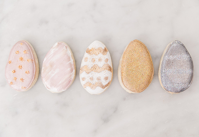Pretty metallic egg cookies for Easter