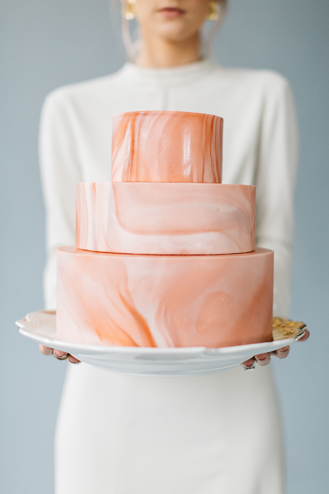 Pink Marble Wedding Cake by Flour and Flourish