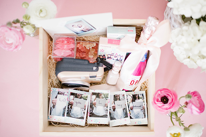 Bridesmaids box featuring Fujifilm Instax