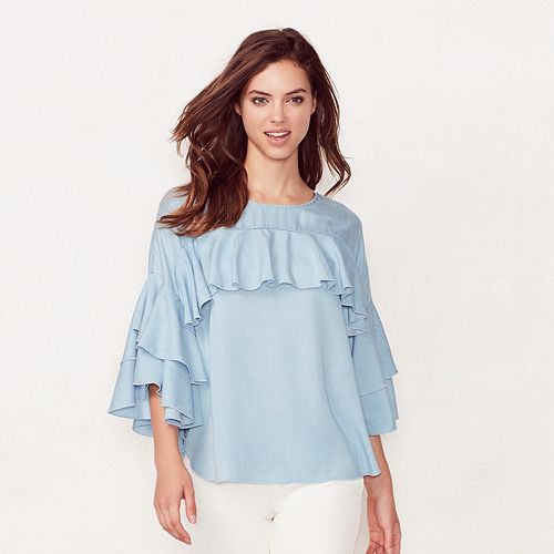LC Lauren Conrad Ruffle Chambray Top