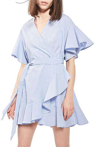 Topshop wrap dress with ruffle sleeve