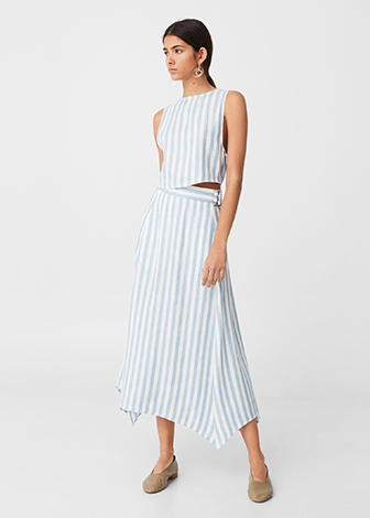 Linen stripe top and skirt combo