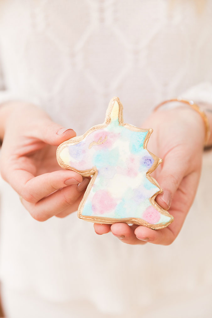Unicorn decorated sugar cookies