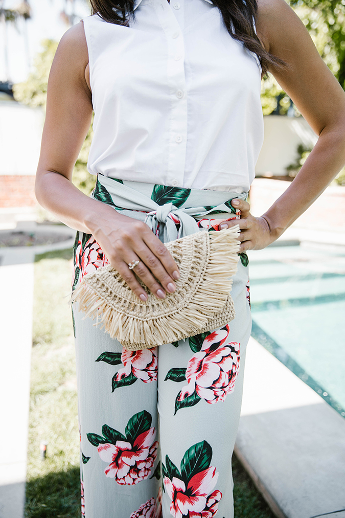 Straw bag and floral pants