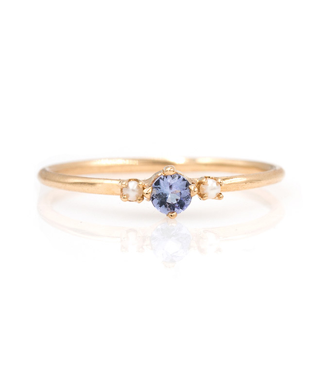 . Audry Rose Tanzanite with Side Pearls Ring