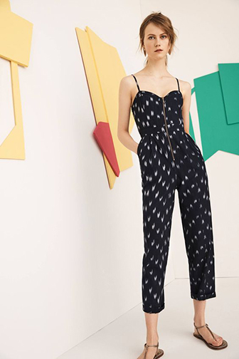 Anthropologie Ikat Zip-front Jumpsuit