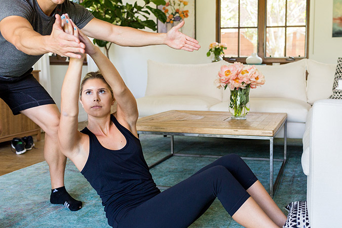 Couch rotary twists ab exercise on LaurenConrad.com