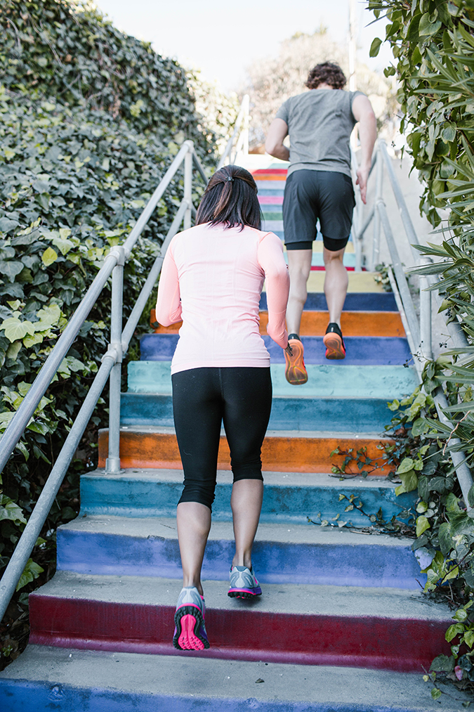 Stair sprints at the Rainbow Stairs on LaurenConrad.com