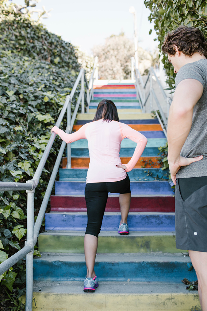 Double Stair Lunges at the Rainbow Stairs