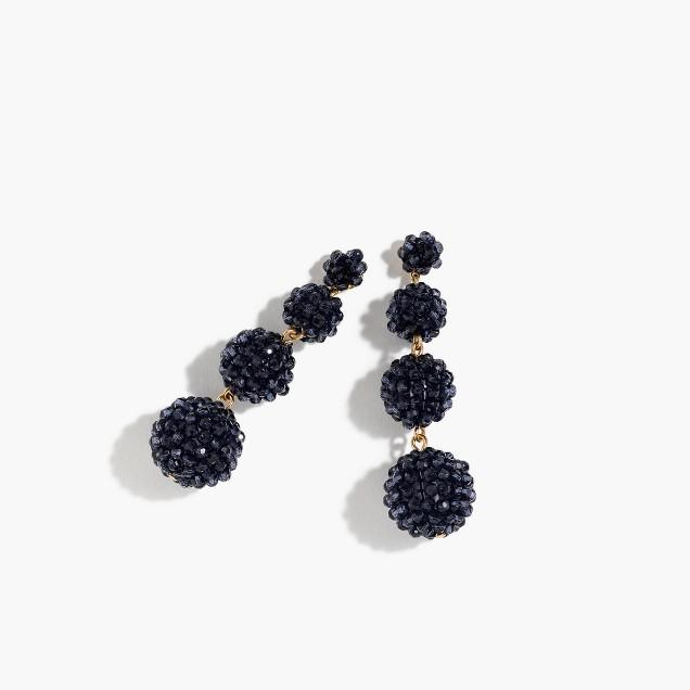 J.Crew Beaded Ball Earrings in Pacific Blue
