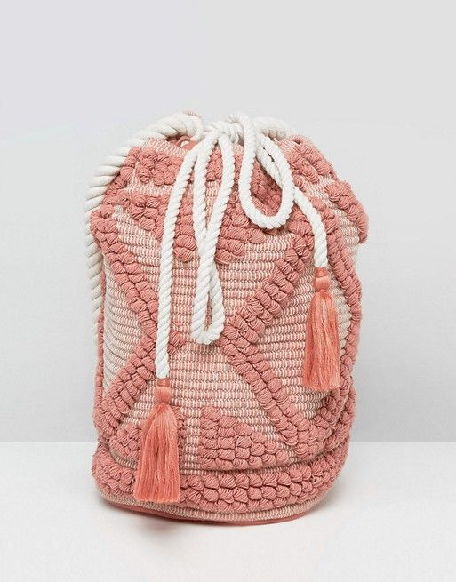 "Favorite Beach Bag: This textured drawstring bag in ""lullaby pink"""