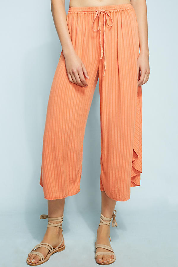 Embroidered Ruffle Wide-Leg Pants