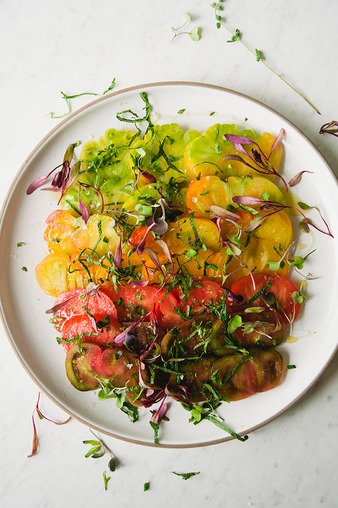 Summery heirloom tomato and herb salad recipe