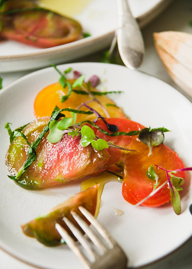 Heirloom tomato and herb salad recipe on LaurenConrad.com