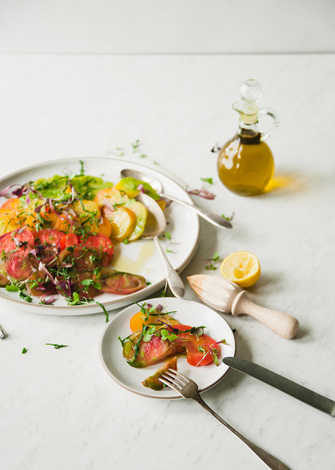 Heirloom tomato salad recipe on LaurenConrad.com