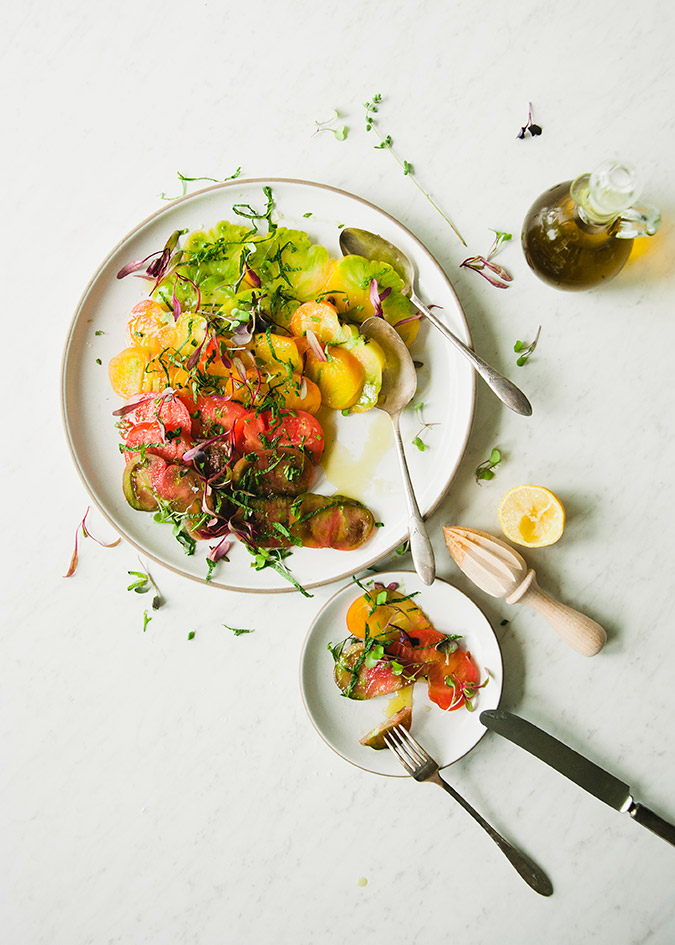 Fresh heirloom tomato salad recipe via The Kitchy Kitchen