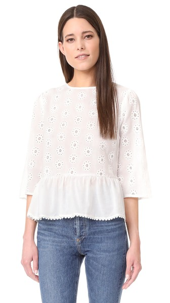 English Factory Bell Sleeve Eyelet Top